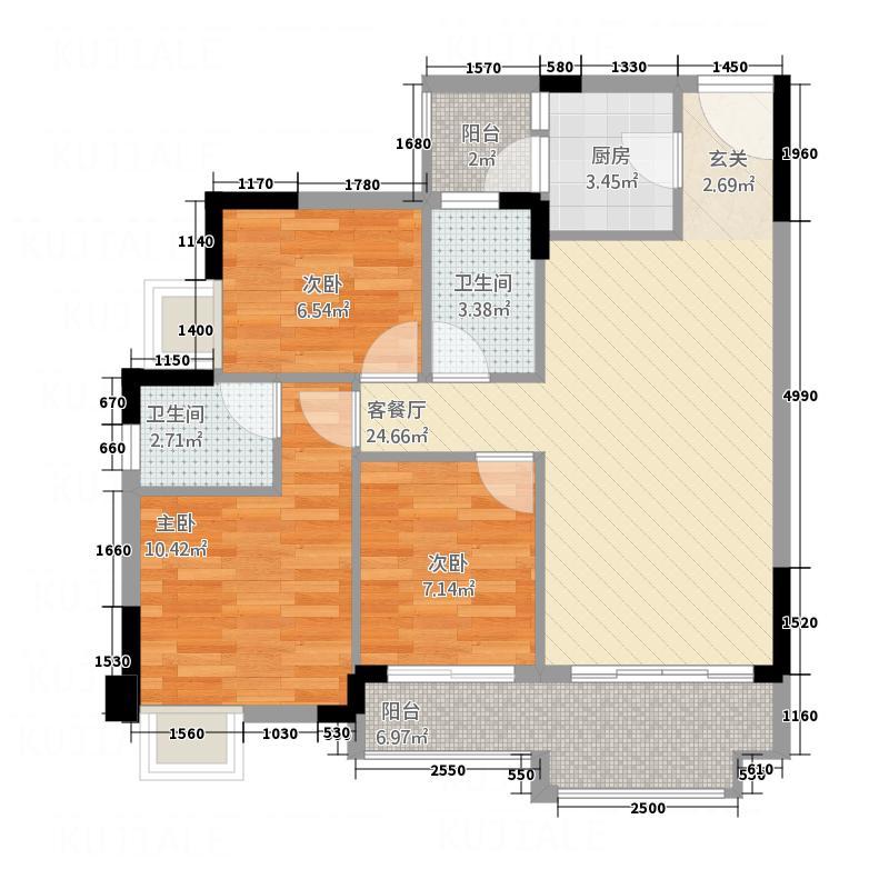 宏业东海岸686.20㎡6B、8F、10B户型3室2厅2卫1厨