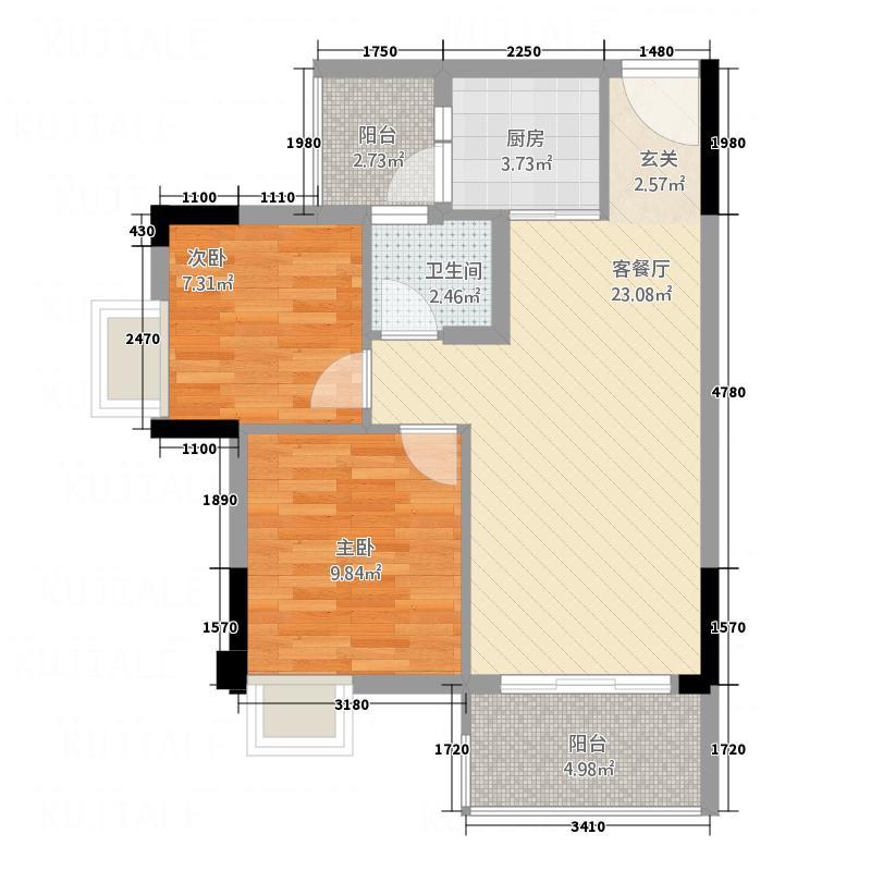 宏业东海岸5877.20㎡5B、8C、9C户型2室2厅1卫1厨