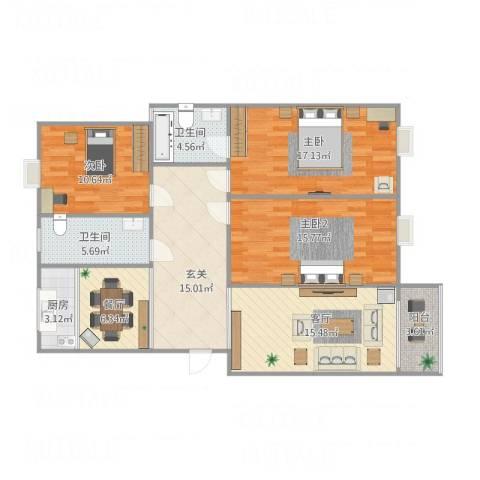 运河人家2室2厅2卫1厨130.00㎡户型图