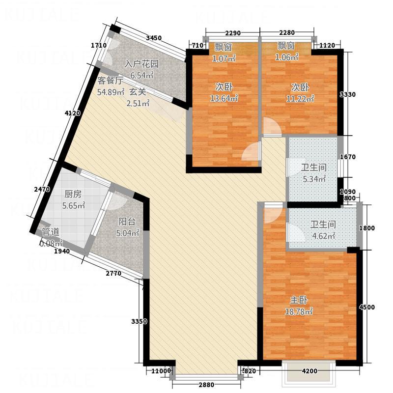 中天维港166.43㎡胜利号户型3室2厅2卫
