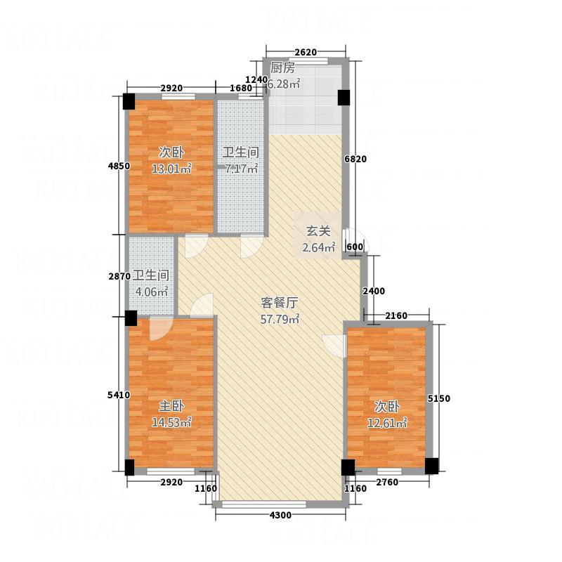富甲天城13.56㎡F户型3室2厅2卫1厨