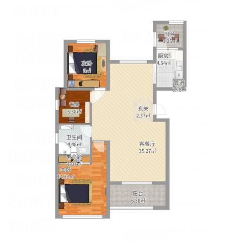 恒瑞大湖山语3室1厅2卫1厨120.00㎡户型图