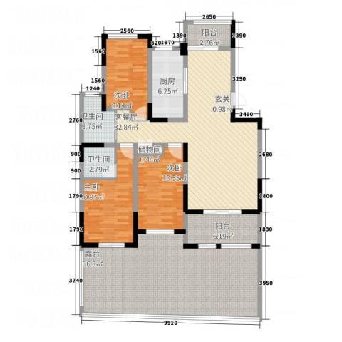 环球香樟园3室1厅2卫1厨126.00㎡户型图