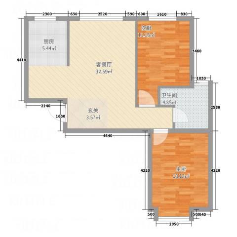 鑫城蓝湾2室1厅1卫0厨78.00㎡户型图
