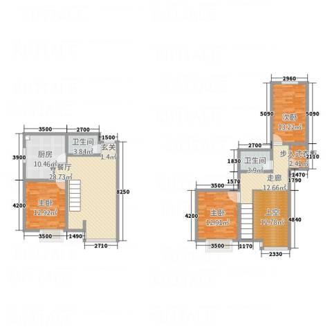泰戈多立方3室1厅2卫1厨130.68㎡户型图