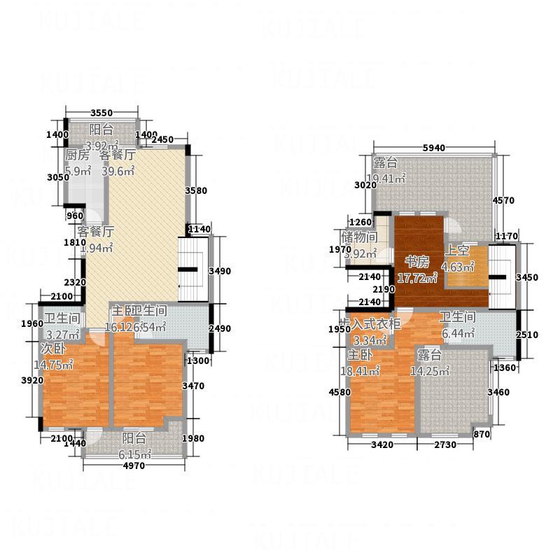 黄山公馆214.23㎡3#G2户型4室2厅3卫1厨