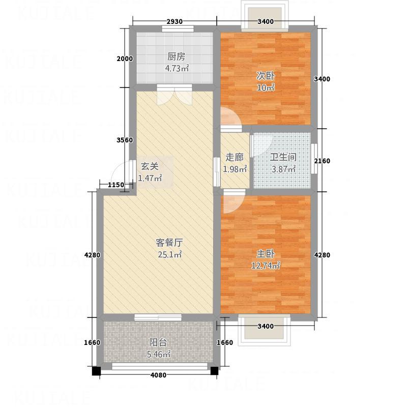 江南花园3.31㎡C3-2户型2室2厅1卫1厨