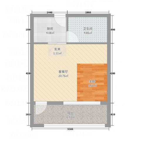 德文公寓1厅1卫1厨36.63㎡户型图