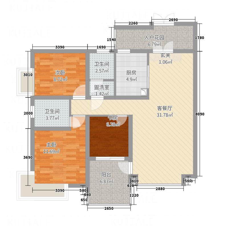 天安星园122.74㎡二期C户型3室2厅2卫1厨