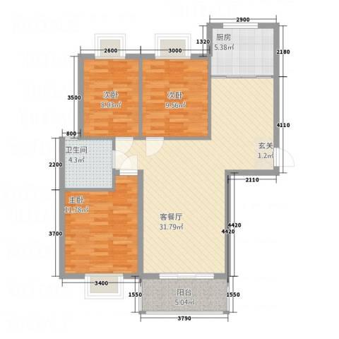 南都御园3室1厅1卫1厨75.89㎡户型图
