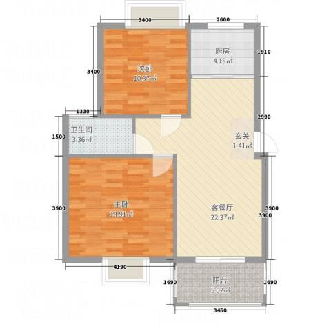 南都御园2室1厅1卫1厨85.00㎡户型图