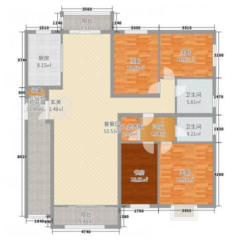 龙栖左岸4室1厅2卫1厨186.00㎡户型图