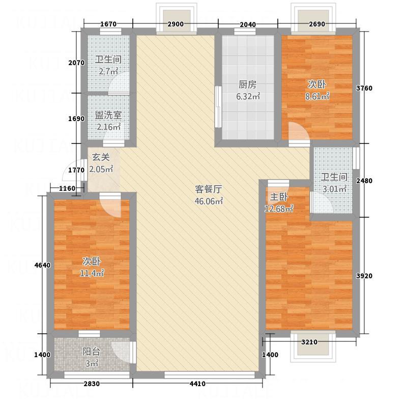 日百依河园138.00㎡户型3室2厅1卫1厨