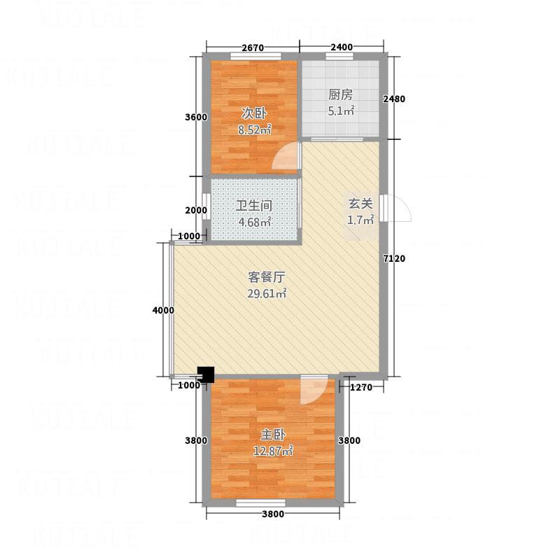 宗裕・悦鑫国际88.60㎡A户型2室2厅1卫1厨