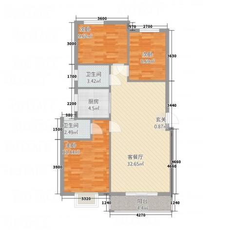 南都御园3室1厅2卫1厨79.20㎡户型图