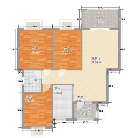南都御园3室1厅1卫1厨113.00㎡户型图