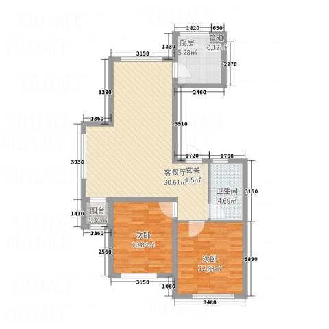 双兴六月天2室1厅1卫1厨64.89㎡户型图