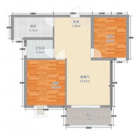 南都御园2室1厅1卫1厨87.00㎡户型图