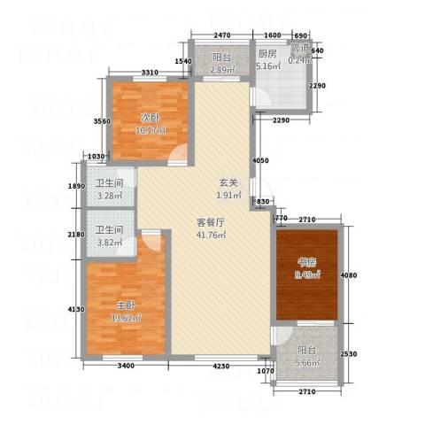 双兴六月天3室1厅2卫1厨137.00㎡户型图