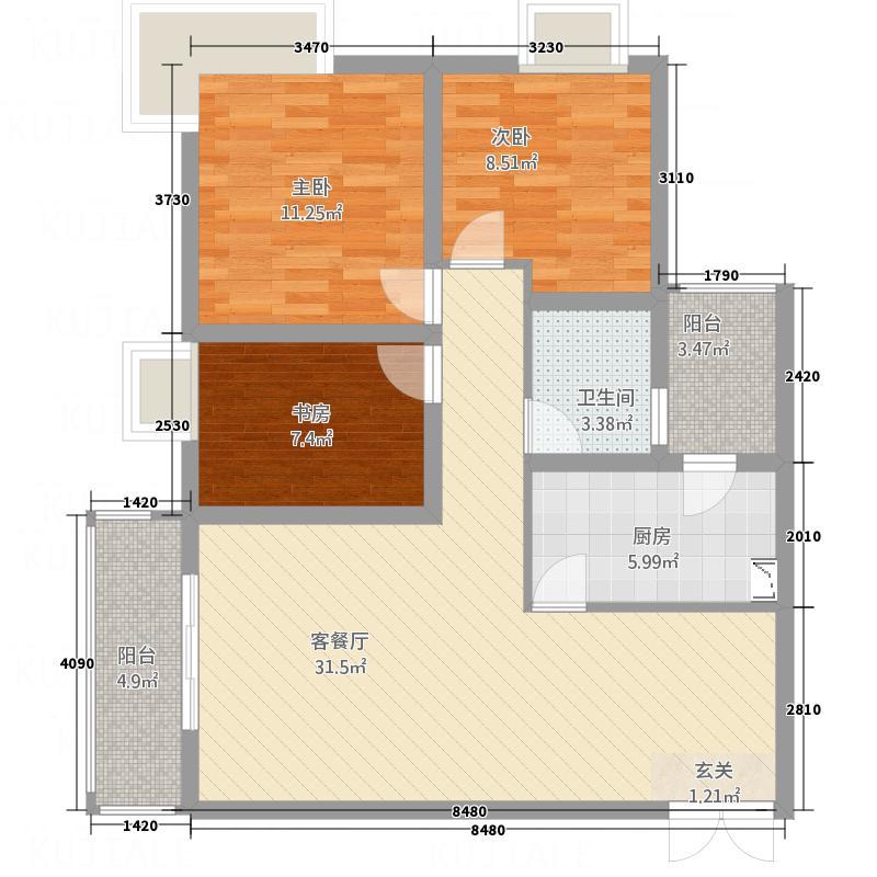 天安星园11.60㎡二期A户型3室2厅1卫1厨