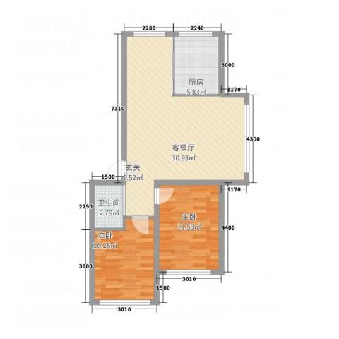 丰慧・佳苑2室1厅1卫1厨76.00㎡户型图