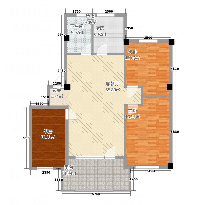 柏峰金域1.10㎡户型3室2厅1卫1厨