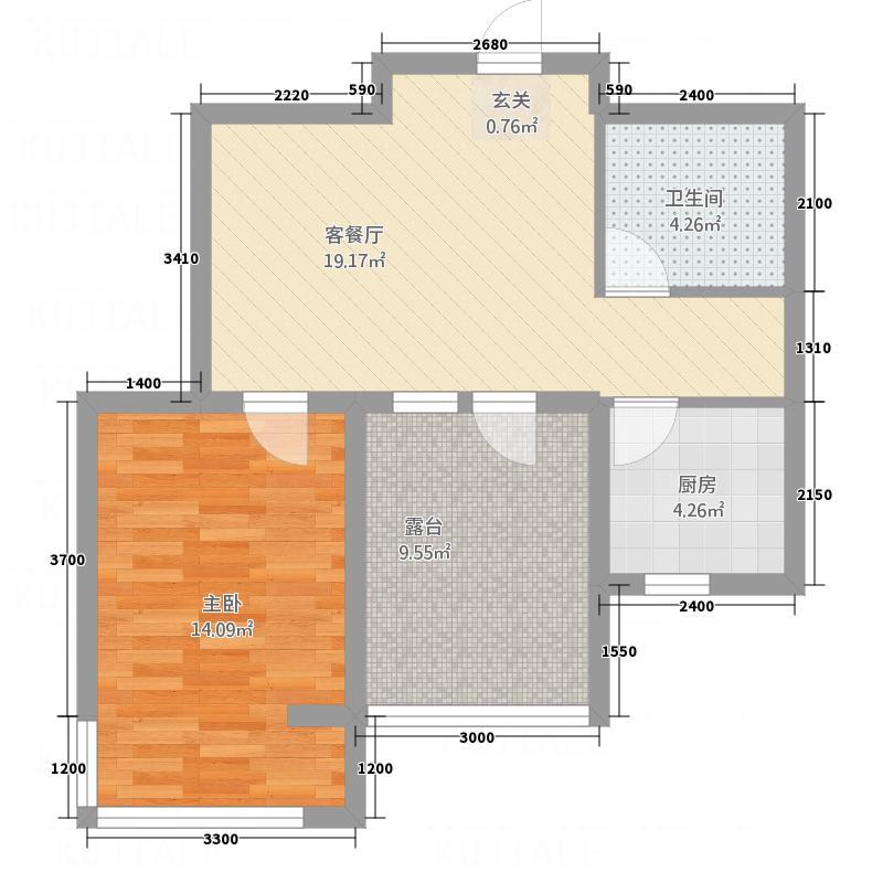 宗裕・悦鑫国际67.24㎡C户型2室1厅1卫1厨