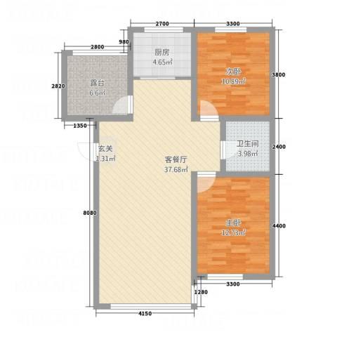 宗裕・悦鑫国际2室1厅1卫1厨76.54㎡户型图