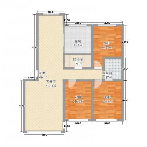 丰慧・佳苑3室1厅1卫1厨123.00㎡户型图