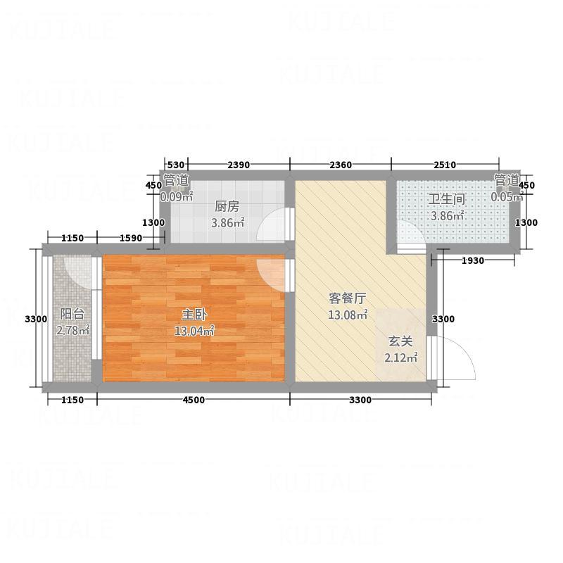 翔凤山水国际4.60㎡1#c户型1室2厅1卫1厨
