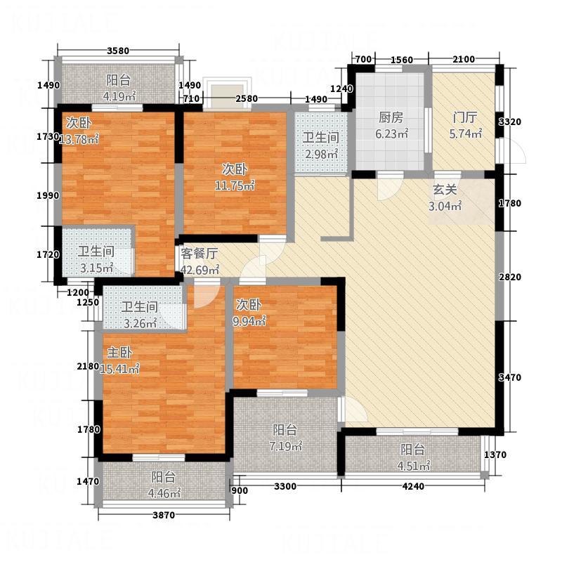 怡水花园167.70㎡户型4室3厅2卫