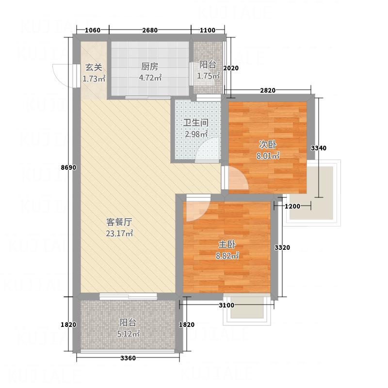 天安星园7.30㎡二期E1户型2室2厅2卫1厨