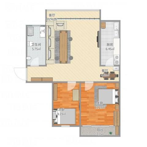 凤凰阁c区2室1厅1卫1厨98.00㎡户型图