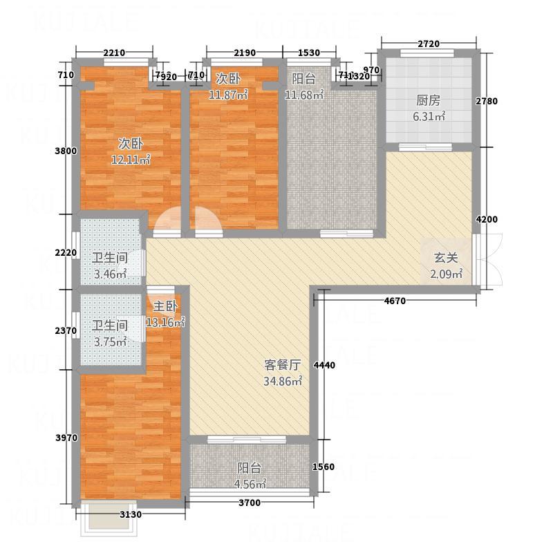 华富世家三期148.41㎡11#K-1户型3室2厅2卫