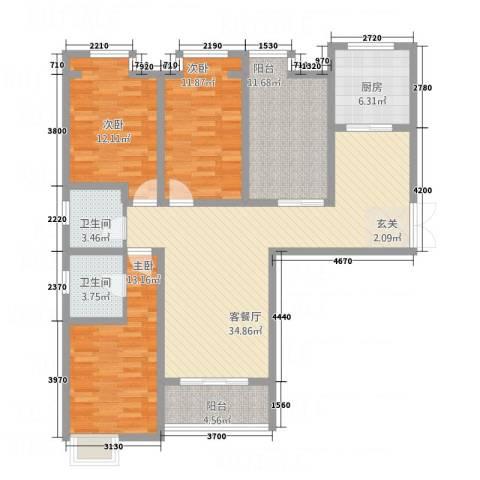 华富世家三期3室1厅2卫1厨148.00㎡户型图