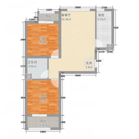 七里河・佳洲美地2室1厅1卫1厨78.00㎡户型图