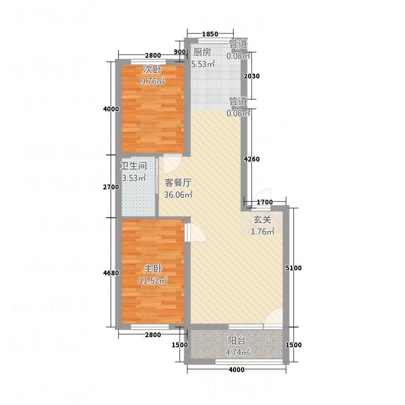 香江家园76.80㎡B户型2室1厅1卫1厨
