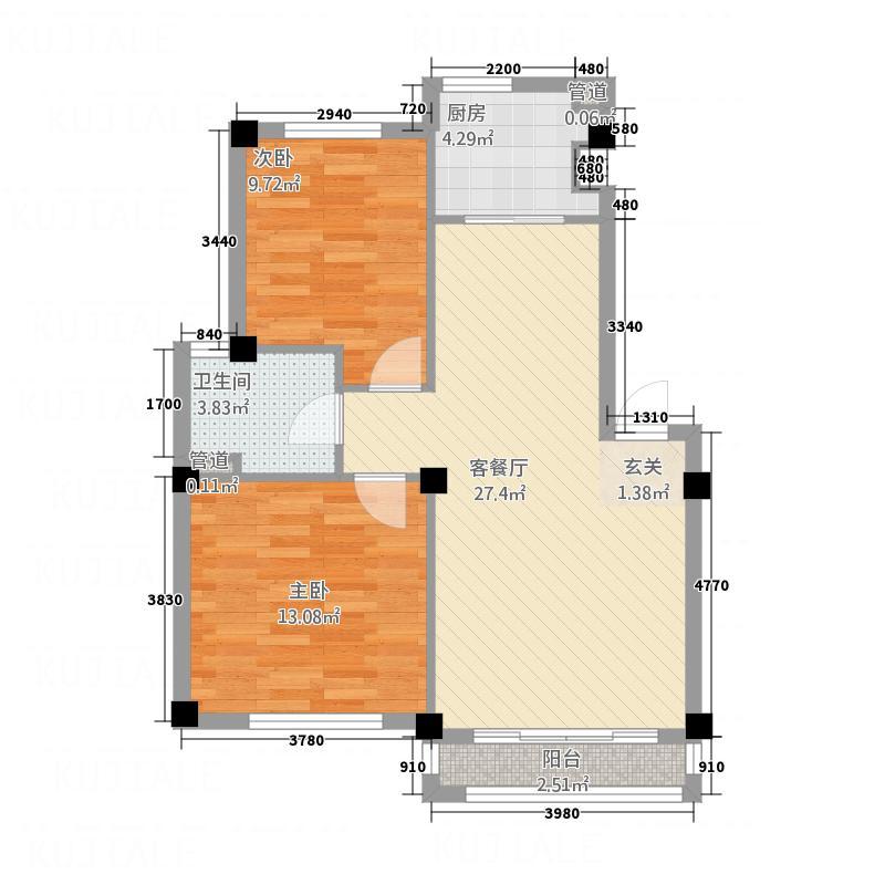 世纪城86.41㎡8641户型2室2厅1卫1厨