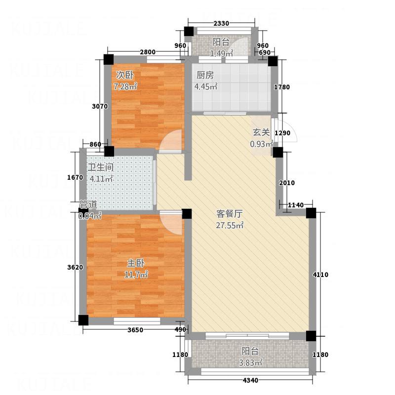 世纪城87.43㎡8743户型2室2厅1卫1厨