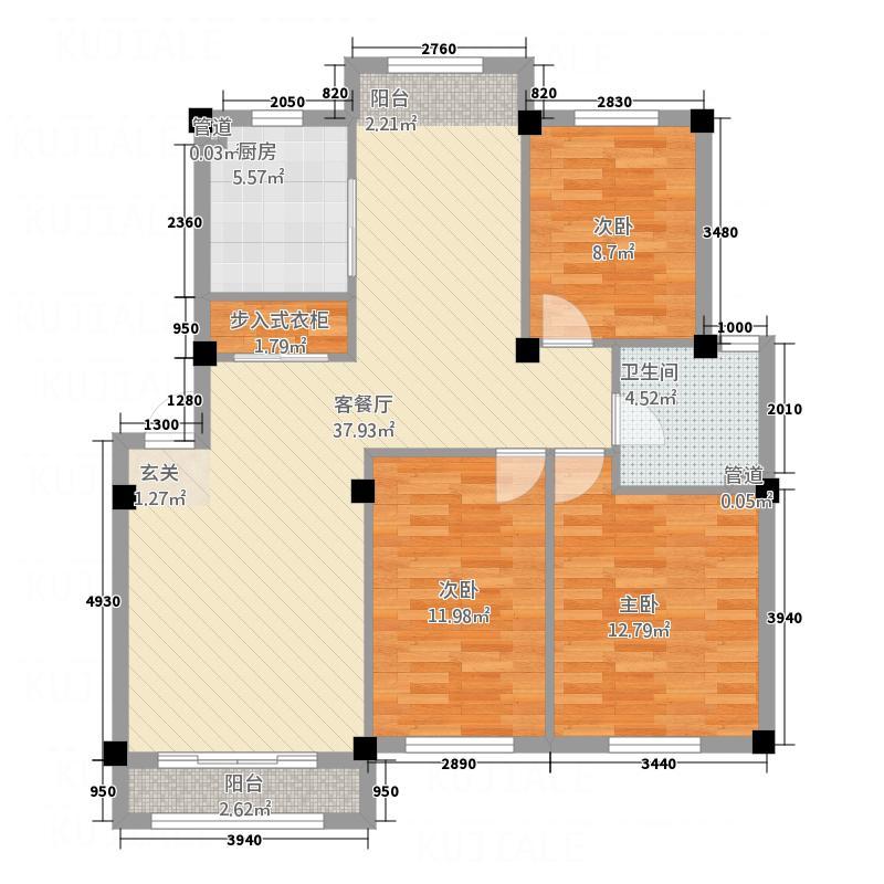 世纪城12.45㎡12045户型3室2厅1卫1厨