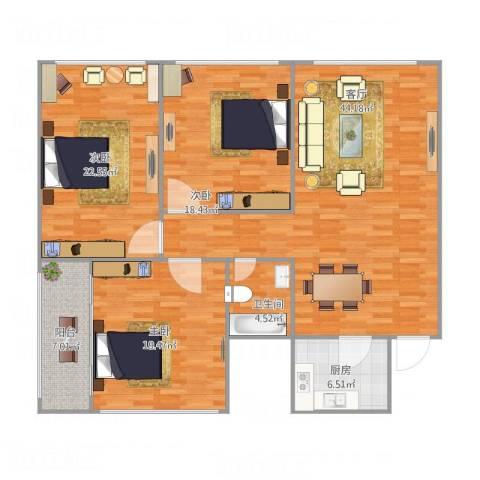 逸东花园3室1厅1卫1厨162.00㎡户型图