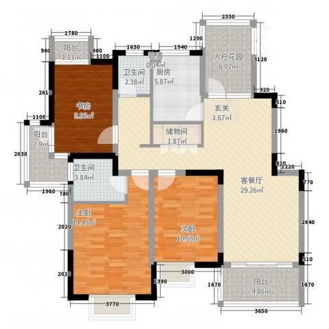 领秀江南3室1厅2卫1厨136.00㎡户型图