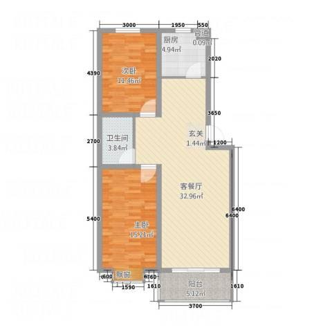 永强苑2室1厅1卫1厨73.62㎡户型图