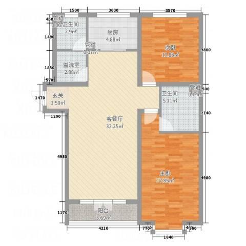 食品公司宿舍2室2厅2卫1厨118.00㎡户型图
