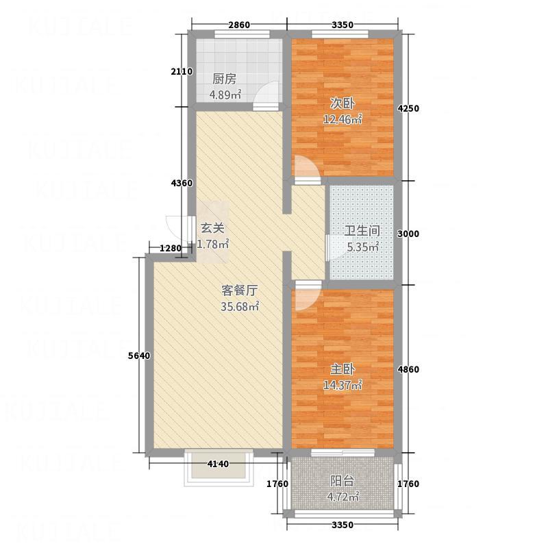 海藤名苑102.80㎡海藤名苑户型图三期20号楼八层D2户型2室2厅1卫1厨户型2室2厅1卫1厨