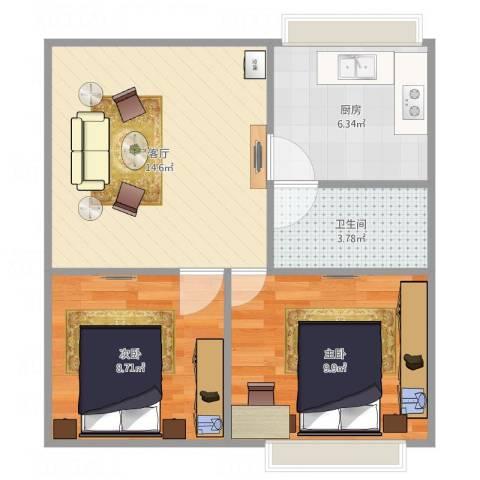 肿瘤医院家属楼2室1厅1卫1厨59.00㎡户型图
