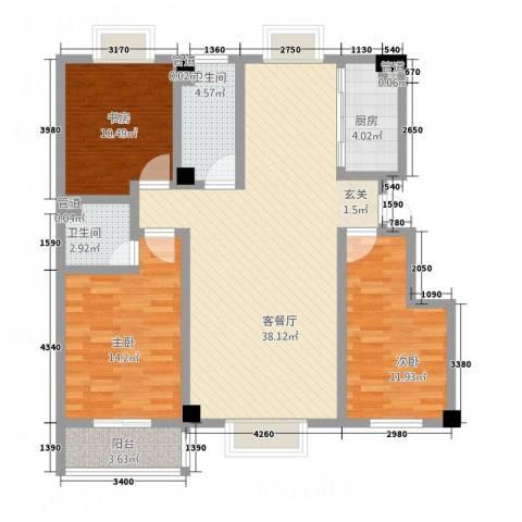 金鑫・杏林嘉园3室1厅2卫1厨133.00㎡户型图