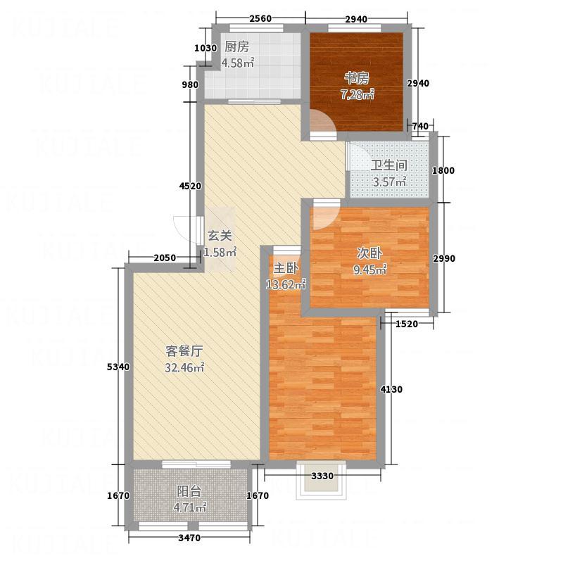 天鹭・清林雅筑D户型3室2厅1卫