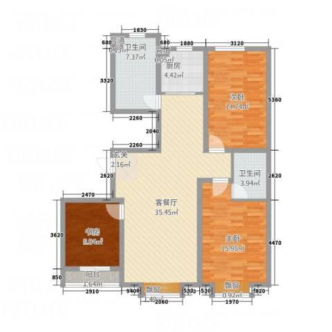 永强苑3室1厅2卫1厨133.00㎡户型图