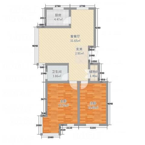 银亿家园2室1厅1卫1厨71.71㎡户型图